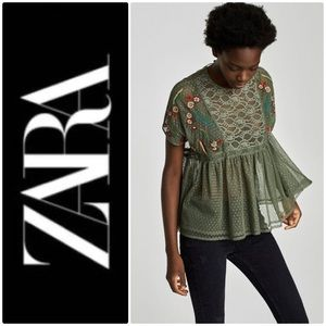 ZARA Basic Special Collection Lace embroidered top